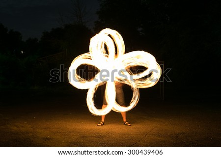 Fire show man in action in night time.
