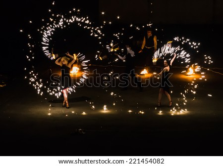 Fire show on the waterfront city of Yaroslavl is included in the Golden Ring of Russia August 8, 2014 - stock photo