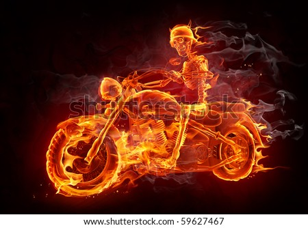 Fire skeleton riding motorcycle - stock photo