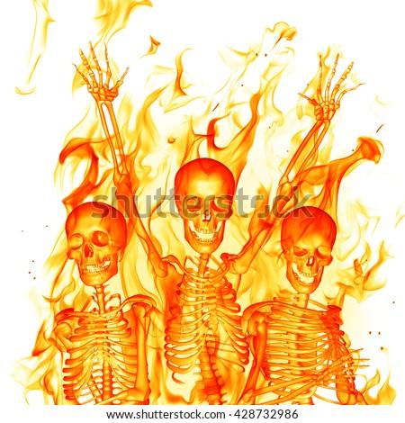 Fire skeletons. 3D illustration. - stock photo
