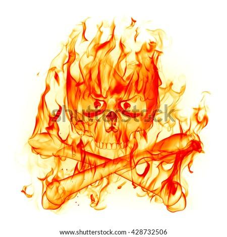Fire skull. 3D illustration. - stock photo