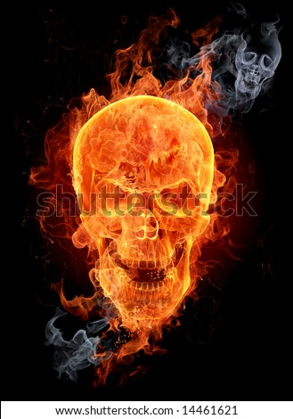 Fire skull. Look at other fire illustrations in my portfolio: burning letters, flowers, girls... - stock photo
