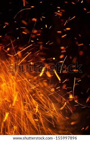 Fire Sparks Background - stock photo