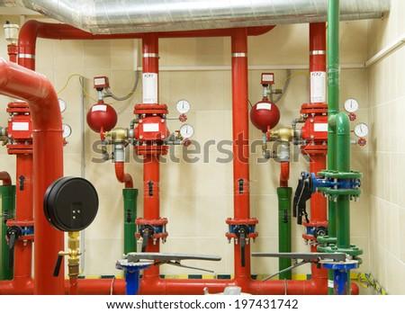 Fire sprinkler system - stock photo