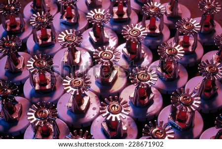 Fire sprinklers ready for installation - stock photo