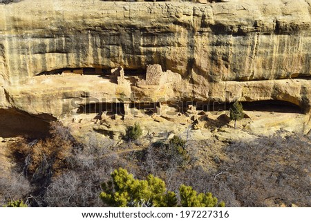 Fire Temple in Mesa Verde National Park, Colorado in winter - stock photo