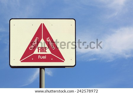 Fire Triangle Sign - stock photo