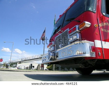Fire Truck Called to Action - stock photo