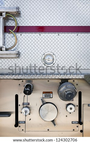 Fire truck close up side view. - stock photo