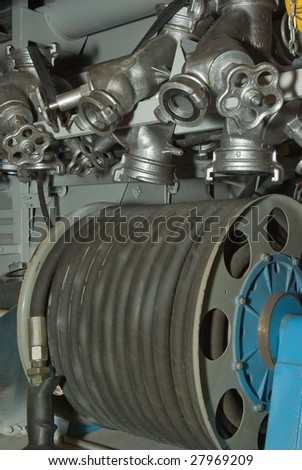 Fire Truck Hose valves - stock photo