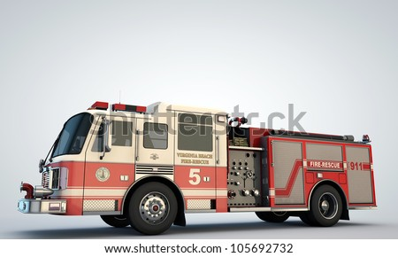fire truck isolated on white background - stock photo