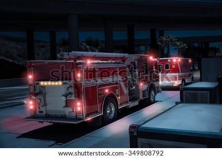 Fire Truck/Paramedics and Ambulance with Lights - stock photo