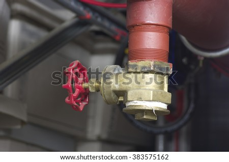 Fire valve, installation of fire safety, Security fire system in industry.