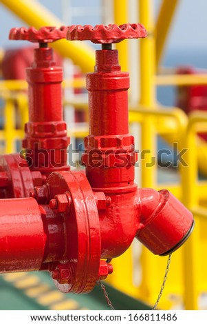 Fire valve,installation of fire safety,Security fire system in industry  or the process - stock photo
