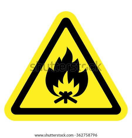 Fire warning sign in yellow triangle, isolated on white background. Flammable, inflammable substances icon. Safety icon. illustration - stock photo