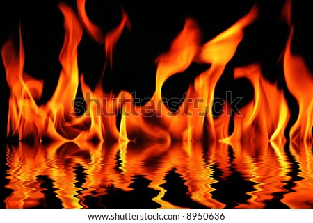 fire with water reflection - stock photo