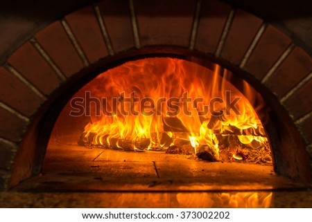 Fire wood burning in the oven - stock photo