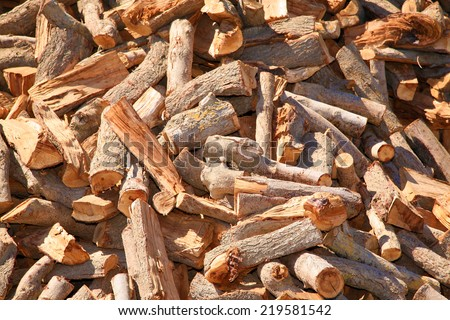 Fire wood piled high outdoors in the sun - stock photo