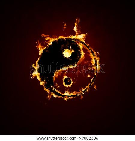 Fire yin and yang - stock photo