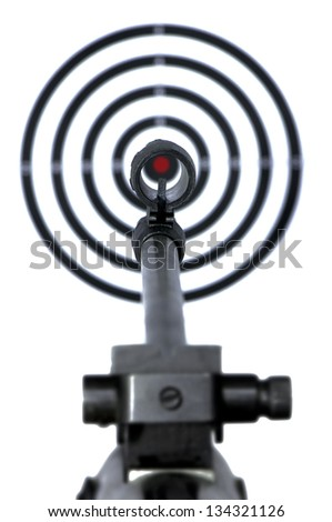 Firearm sight and blurred target on background. Aiming concept - stock photo