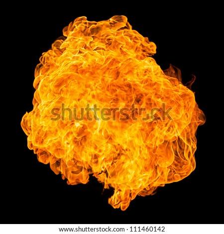 Fireball black background - Propane Canon - stock photo