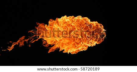 Fireball isolated on black background - stock photo