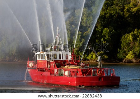 Fireboat, Potomac River - stock photo