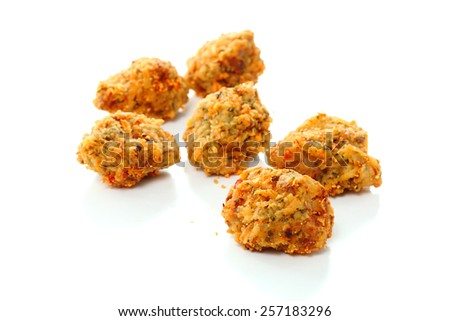 Fired chicken ball spicy on white background - stock photo