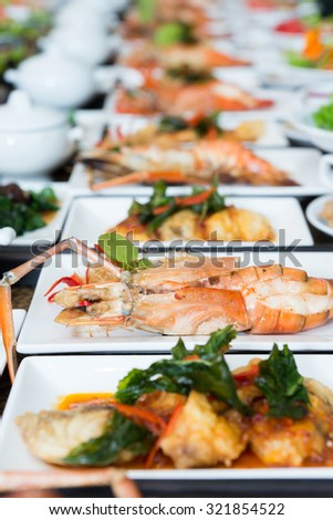 Fired seafoods on dish, Luxuary Thai seafood