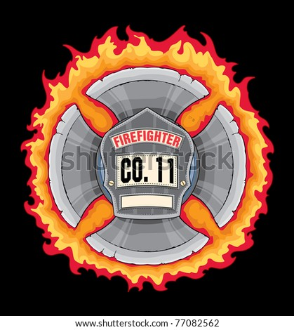 Firefighter Cross With Shield is an illustration of a black leather firefighter helmet or fireman hat shield or badge in a flaming maltese cross made with axe blades. - stock photo
