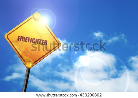 firefighter, 3D rendering, glowing yellow traffic sign  - stock photo
