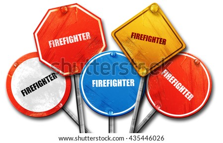 firefighter, 3D rendering, street signs - stock photo