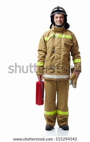 Firefighter extinguisher on a white background - stock photo