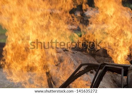 Firefighter fighting For A Fire Attack, During A Training - stock photo