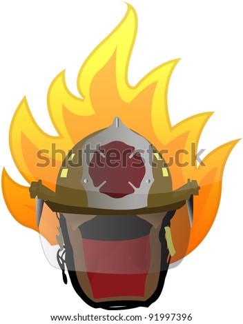 firefighter helmet on fire illustration design on white - stock photo