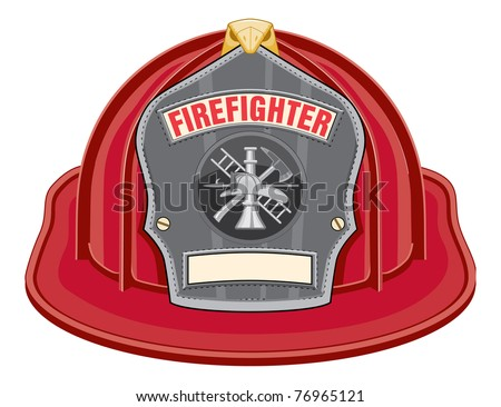 Firefighter Helmet Red is an illustration of a red firefighter helmet or fireman hat from the front with a firefighter tools logo. - stock photo