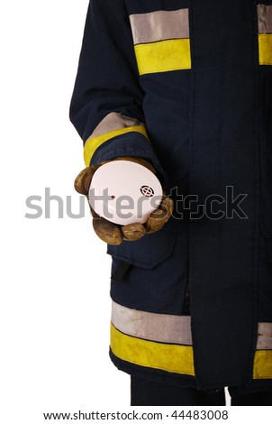 Firefighter holding fire alarm isolated on white - stock photo