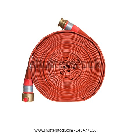 firefighter hose isolated on the white background - stock photo