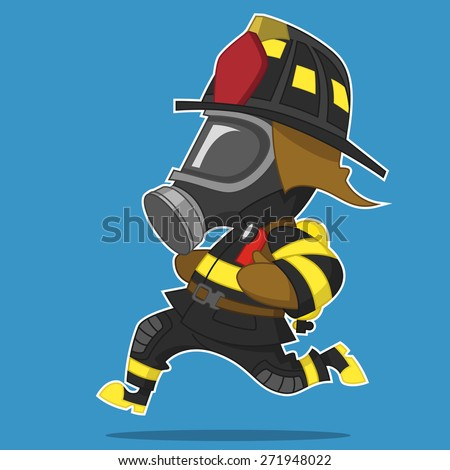 Firefighter hurry. raster illustration. - stock photo