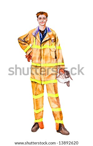Firefighter illustration. All copyrights on this picture, I possess YURIY SELCHIKHIN. Their profession is linked with risk. Courage. Brave. Bold. Fighting fire work for real men.
