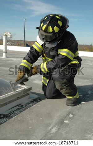 Firefighter on roof