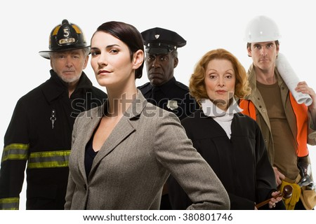 Firefighter police officer judge construction worker and businesswoman - stock photo