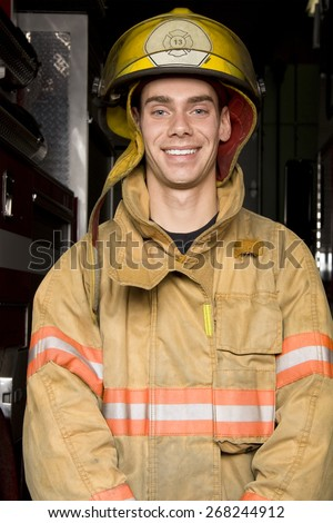firefighter portrait  - stock photo