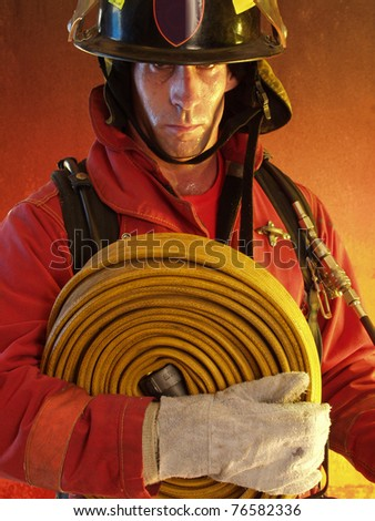 Firefighter portrait ready to work. - stock photo