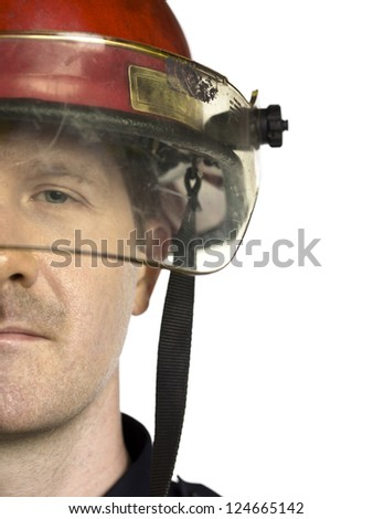 Firefighter's half face against the white background - stock photo