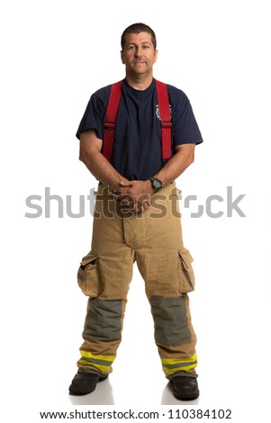 Firefighter Standing Full Body Length Portrait Isolate on Withe Background - stock photo