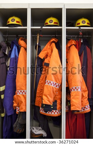 Firefighter suits - stock photo
