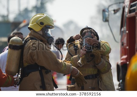 firefighter training - stock photo