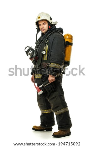 Firefighter with axe and oxygen balloon isolated on white  - stock photo