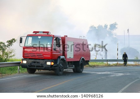 Firefighters are extinguishing fires  with Fire truck